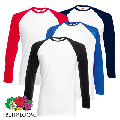 Fruit Of The Loom MEN'S BASEBALL T-SHIRT LONG SLEEVES CONTRAST SLEEVES SPORT GYM
