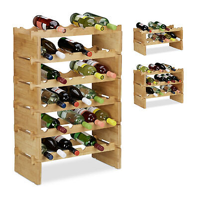 Stackable Wine Rack, Sturdy Bamboo Bottle Holder for up to 36 Bottles, Natural