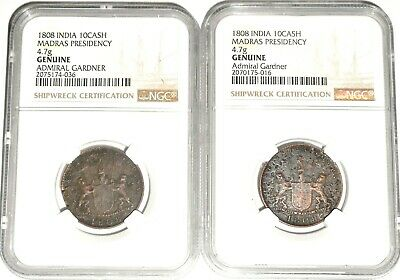 Two (2) 1808 Admiral Gardner Shipwreck East India Co TEN CASH Coins, NGC Certif