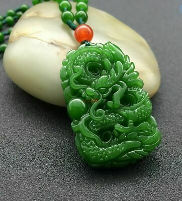 100%Natural Green Hand-carved Chinese Hetian Jade Pendant - Dragon-Free Necklace