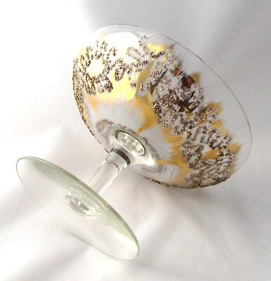 Vintage or Antique Small Crystal  Compote with Elegant Gold Embellishment