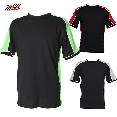 Formula Racing T-Shirt Contrast Colours 100% Cotton Jersey Sport Top Colours Tee