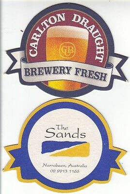 CUB - Carlton Draught - The Sands Hotel Ver 2 Round Coaster - Beer Mat