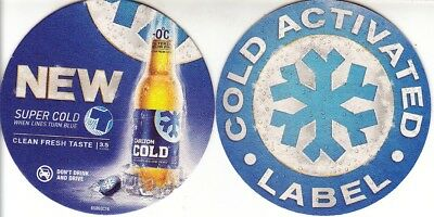 CUB - Carlton Cold - Cold Activated Round Coaster - Beer Mat