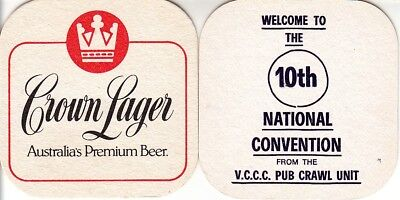 CUB - Crown Lager - 10th Convention Square Coaster Beer Mat