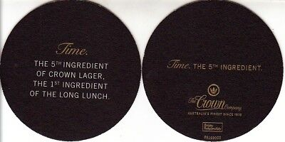 CUB - Crown Lager - The 5th Ingredient Time Round Coaster - Beer Mat