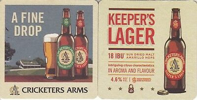 Cricketers Arms - Keepers Lager Square Coaster Beer Mat