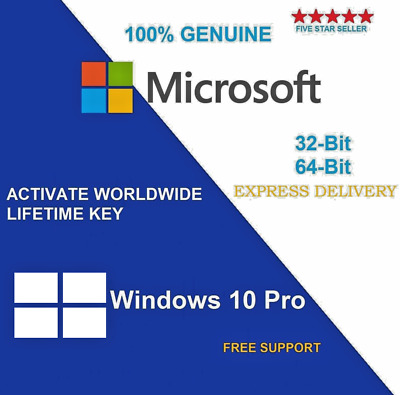 Microsoft Windows 10 Pro Professional 32/64 Bit + Retails License Key