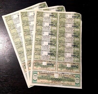 Rare! Germany 1922 Bonds Coupons Lot Of 3 Sheets