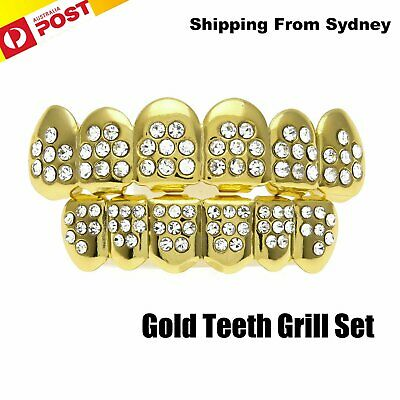 Gold Plated Tooth Grillz Teeth Rhinestone Diamond Cap Grill Hip Hop Gangster AU