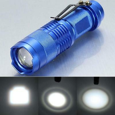 7W 1200lm Q5 LED Mini Zoomable Flashlight 14500/AA Torch Lamp Light Blue JS
