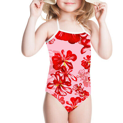 Floral Girls Swimsuit Kids Cute Swimwear Baby Bikini Comfy Bathing Suit Age 3-8