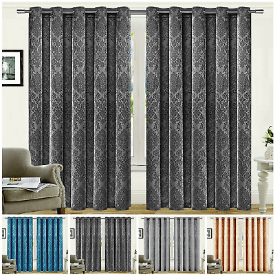 Extra Wide Blackout Curtains Pair of Ready Made Thermal Eyelet Ring Top Curtain