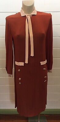 Vintage 30s 1930s RUSSET BROWN DRESS WITH BUTTONS