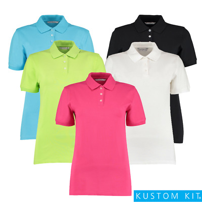 Kustom Kit LADIES POLO SHIRT COTTON LYCRA SHORT SLEEVE TOP COLOUR 8-20 PLUS SIZE