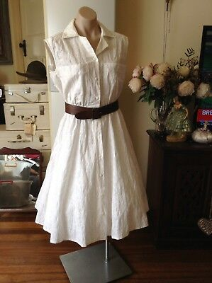 Classic Style Vintage Party Dress, Sundress White Cotton Stitching Size 10-14