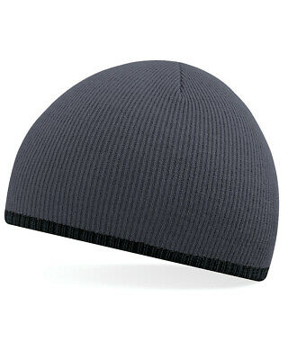 Beechfield Two Tone Pull On Beanie Hat Winter Double Layer Knit Soft Unisex New