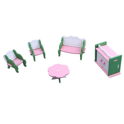 1 set Baby Wooden Dollhouse Furniture Dolls House Miniature Child Play Toys Q6E4