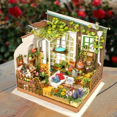 DIY Wooden Sunny Garden Miniature Dollhouse 3D LED Mini Dollhouse Kit With  T6C8