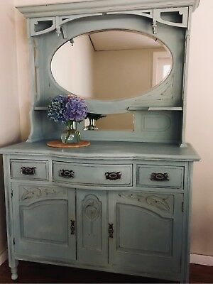 Antique Dresser Buffet, Sideboard with Mirror