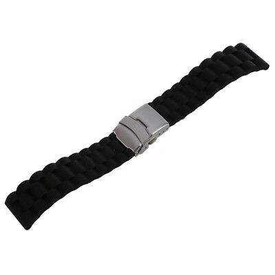 Black Silicone Watch Strap Waterproof Diving Band with Folding Clasp 24 mm M6H6