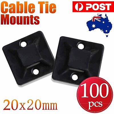 100pcs Self Adhesive Cable Wire Zip Tie Mounts Base Clamps Clip Black 20*20MM AU