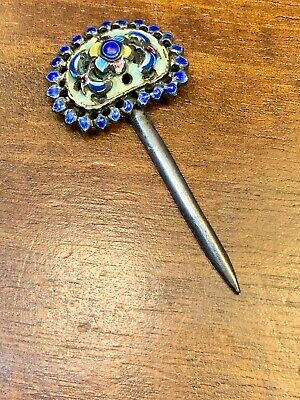 Antique Silver And Enamel Chinese Hair Pin Lotus
