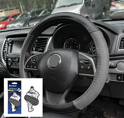 Grey Leather Look Stitched Steering Wheel Cover for Jaguar S Type 99-07