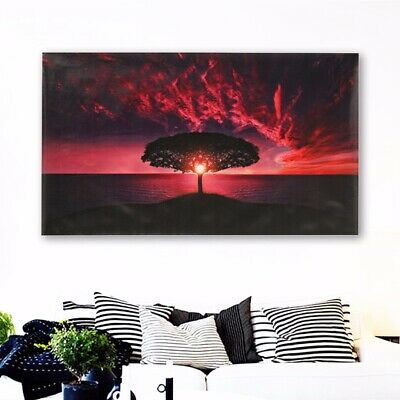 Sunset Glow Clouds Tree Canvas Print Art Painting Picture Home Room Wall Decor