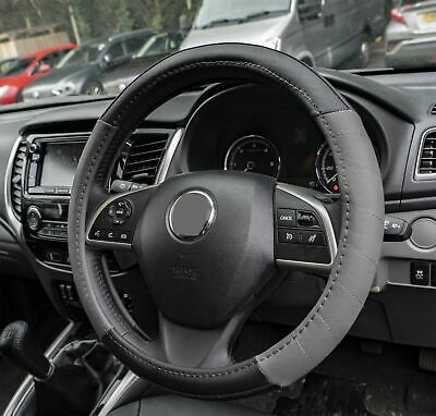 Grey Leather Look Stitched Steering Wheel Cover for Saab 900 All Models