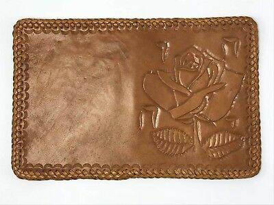 New-Handmade Single Rose Theme Genuine Leather Book Cover-Small-Made in USA