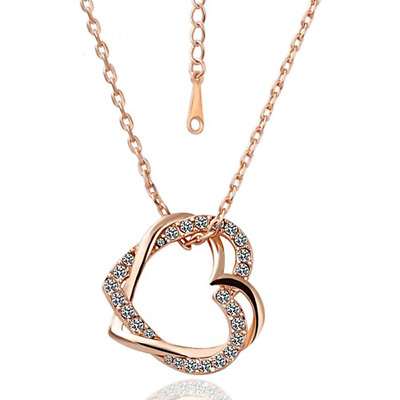 1.2ct Round Cut Diamond Pendant with Chain Double Heart Shape 14k Rose Gold Over