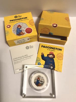 NEW 2018 Royal Mint Paddington at The Station Silver Proof Coloured 50p with COA