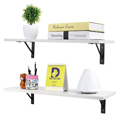 2 Pcs Wall Mounted Hanging Shelf Storage Display Rack Wooden Book Organizer Home