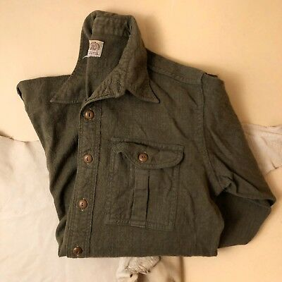 Vintage 60s 70s Boy Scouts of America 100% Wool Green Button Up LS Shirt