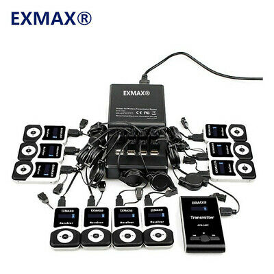 EXMAX Wireless Tour Guide System 72-76MHz Microphone Interpretation For Church