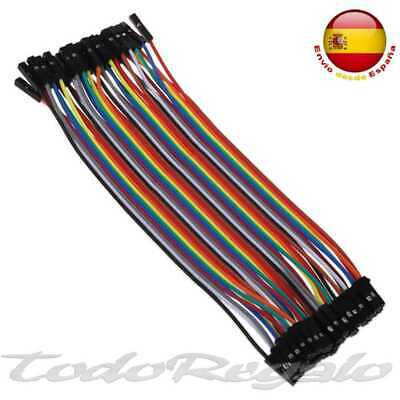 40x Cables de Hembra aHembra 20cm Jumpers Dupont 2,54 para Arduino Protoboard