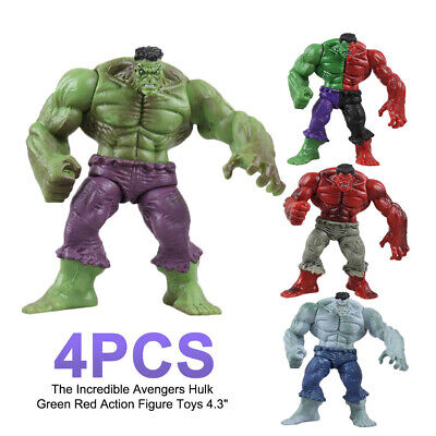4Pcs The Incredible Avengers Hulk Green Red Action Figure Toys 4.3""