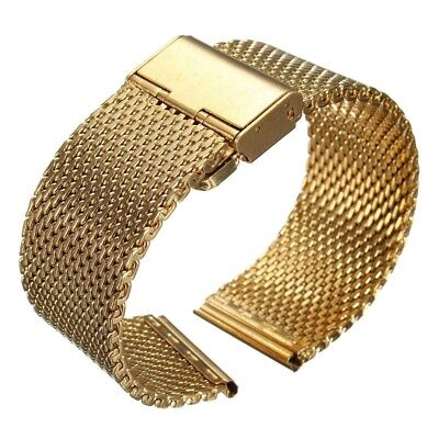 18mm Watch Strap Shark Mesh Band Stainless Double Clasp Steel Bracelet Gold V8Q4