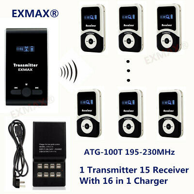 EXMAX Wireless Tour Guide System 195-230MHz Microphone Translation For Church +C
