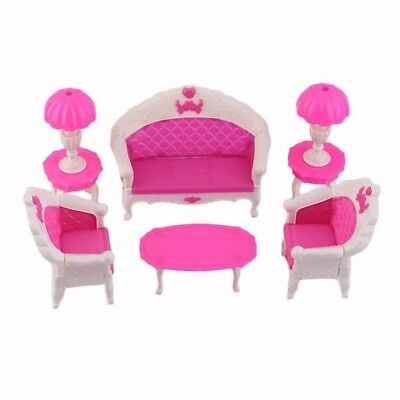 8Pcs Toys Barbie Doll Sofa Chair Couch Desk Lamp Furniture Set Disassembled Z9C7
