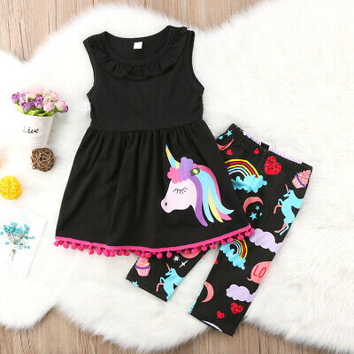 UK Stock Unicorn Kids Baby Girls Outfits Clothes T-shirt Tops Dress + Pants Set