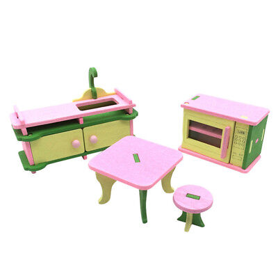 1 set Baby Wooden Dollhouse Furniture Dolls House Miniature Child Play Toys E8U5