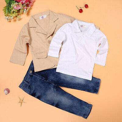 3pcs Toddler Baby Boys T-Shirt+Jacket+Jeans Set Kids Outfits 3-8 Years