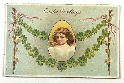 C. Early 1900s Antique Easter Greetings Postcard Embossed Angel French France
