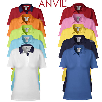 Anvil Women's Double Pique Polo Shirt 100% Soft Cotton Semi Fitted Ladies S-2Xl