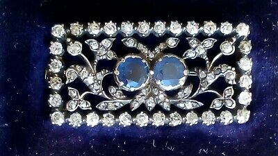 Cased 19th Century Antique DIAMOND and SAPPHIRE Gold Brooch Over 1ct Diamonds