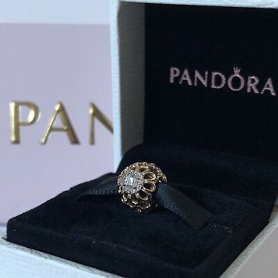 2e5b288f3 PANDORA 750836CZ FLORAL Brilliance CZ Bead Charm 14k Yellow Gold ...