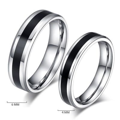 Stainless Steel Ring Size 6-12 Charm Men Women Jewelry Black Titanium Band