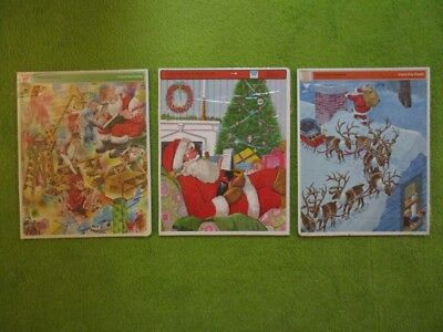 Vintage Lot of 3 Whitman Christmas Frame Tray Puzzles New Old Stock Childrens